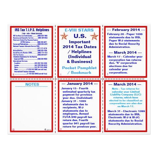 Important 2014 Tax Dates / Helplines Pamphlet Flyers