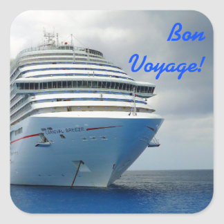 Imposing Bow Bon Voyage Square Sticker
