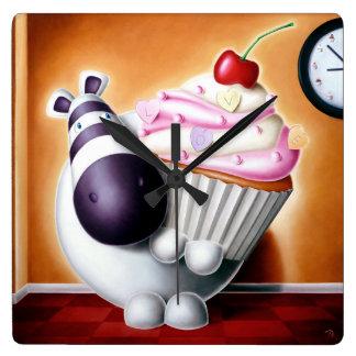 Impossimal© - 'Cake-O-Clock!' Cake-O-Clock, Clock! Square Wall Clock