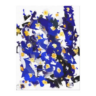 "Impression on fabric, Large model, ""Blue Flowers "" Canvas Print"
