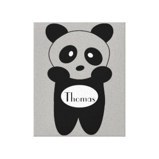 Impression on tended fabric Baby Panda Canvas Print