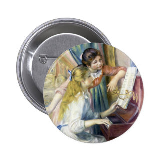 Impressionism Art, Young Girls at Piano by Renoir 6 Cm Round Badge