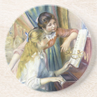 Impressionism Art, Young Girls at Piano by Renoir Beverage Coasters