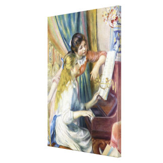 Impressionism Art, Young Girls at Piano by Renoir Canvas Prints