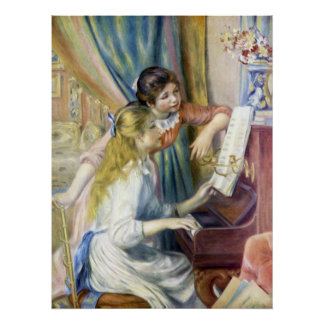 Impressionism Art, Young Girls at Piano by Renoir Poster