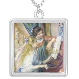 Impressionism Art, Young Girls at Piano by Renoir Square Pendant Necklace