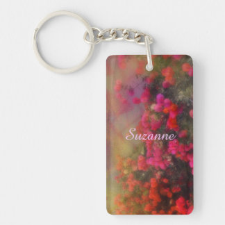 Impressionism Red Bougainvillea Double-Sided Rectangular Acrylic Key Ring