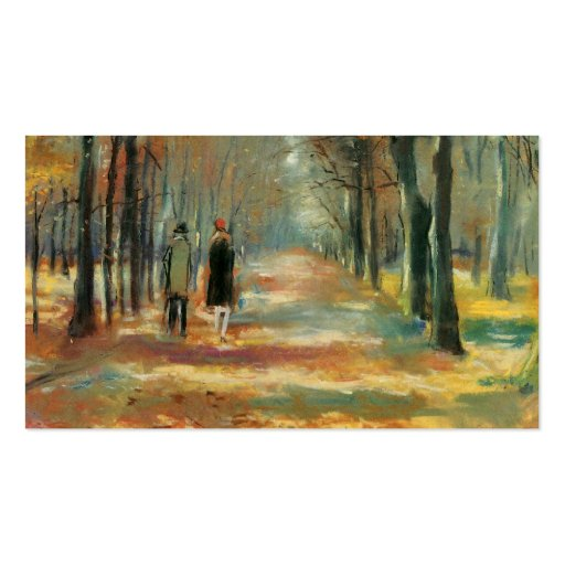 Impressionist art by Ury couple walking in woods Business Card Templates