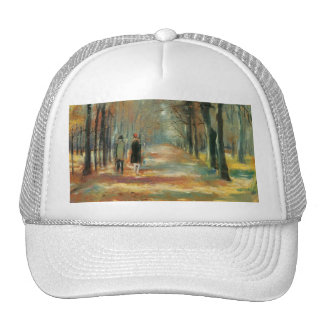 Impressionist art by Ury couple walking in woods Cap