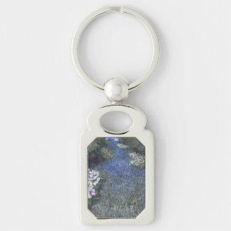 Impressionist Blue Forest Path Key Ring