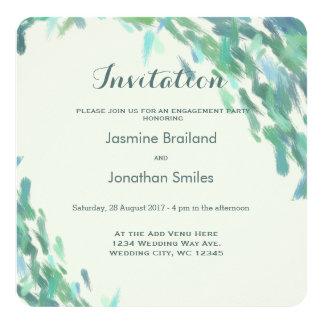 Impressionist brush strokes sea modern wedding card