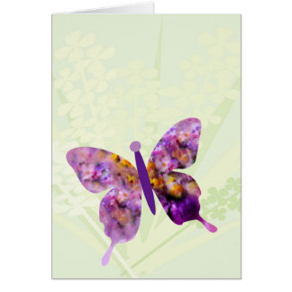 Impressionist butterfly and spring flowers card