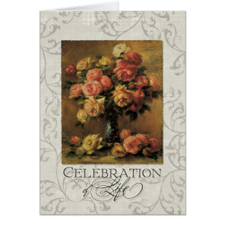 Impressionist Coral Yellow Rose 2 Memorial Service Card