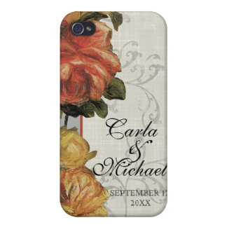 Impressionist Coral Yellow Wedding or Anniversary iPhone 4/4S Cases