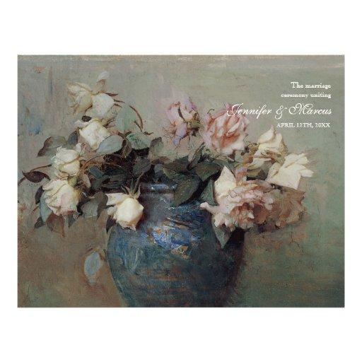 Impressionist Cream Pink Roses - Wedding Program Full Color Flyer