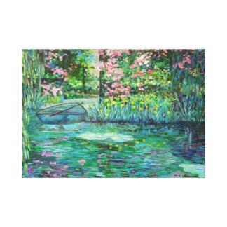 impressionist garden stretched canvas print