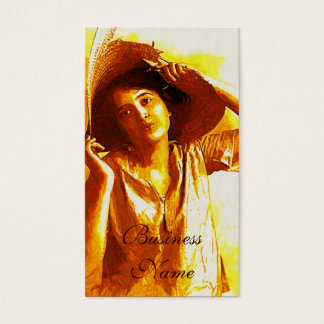 Impressionist Girl With Straw Hat Business Cards