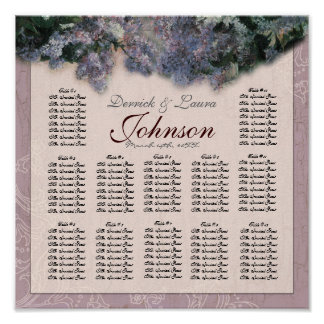 Impressionist Lilac Reception Table Seating Chart Poster