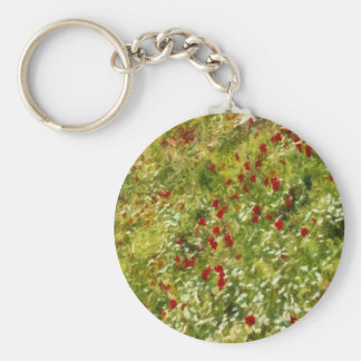 Impressionist Poppies Basic Round Button Key Ring