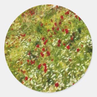 Impressionist Poppies Classic Round Sticker