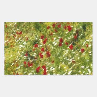 Impressionist Poppies Rectangular Sticker