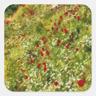 Impressionist Poppies Square Sticker