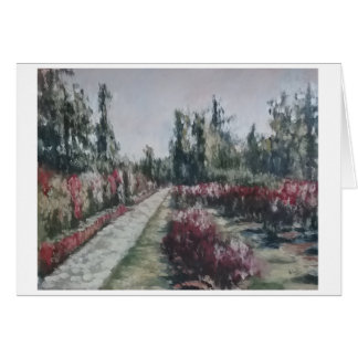 Impressionist Rose Garden with Path Greeting Card