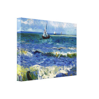 Impressionist Sailboat on the Ocean Waves Canvas