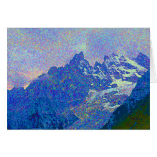 Impressionist Style Alpine Mountain Landscape Card