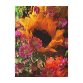 Impressionist Style Sunflower Canvas Print