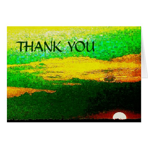 Impressionist Sunset From Sea Thank You Note Card