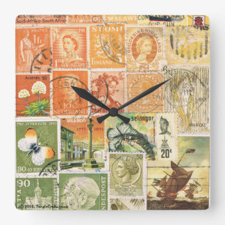 Impressionist Sunset Wall Clock, Postage Stamp Art Wall Clock