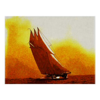Impressionist Vintage Racing Yacht Atlantic Poster