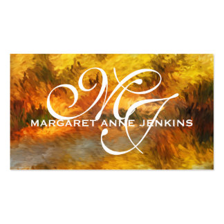 Impressionistic Golden Hues Monogrammed Pack Of Standard Business Cards