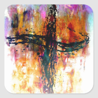 Impressionistic grunge cross square sticker