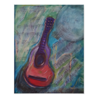 Impressionistic painting of guitar poster