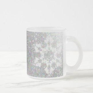 Impressionistic Snowflake Frosted Glass Coffee Mug