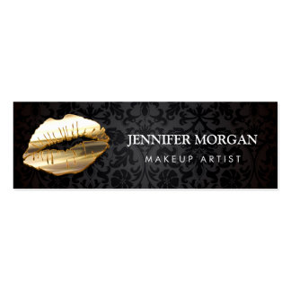 Impressive Eye Catching 3D Gold Lips Makeup Artist Pack Of Skinny Business Cards