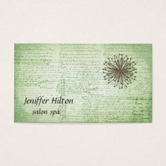 Impressive romantic vintage script dandelion business card