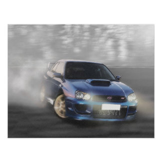 Impreza Coupe going sideways Poster