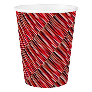 Impulsive Adventure Red Striped Abstract Pattern Paper Cup