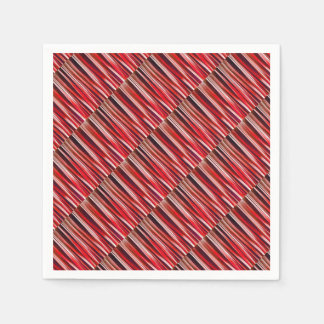Impulsive Adventure Red Striped Abstract Pattern Paper Napkin