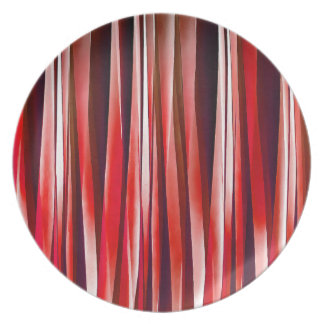 Impulsive Adventure Red Striped Abstract Pattern Plate