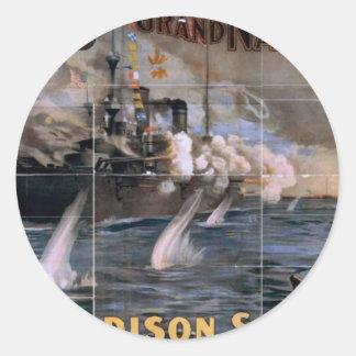 Imre Kiralfy s Madison Square Garden Retro Thea Round Sticker