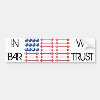 In Bar We Trust - Weightlifting American Flag Bumper Sticker