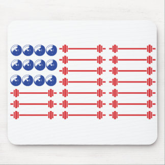 In Bar We Trust - Weightlifting American Flag Mouse Pad