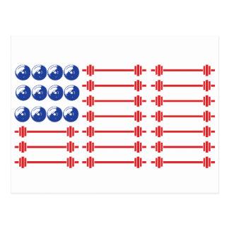 In Bar We Trust - Weightlifting American Flag Postcard