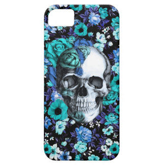 In bloom blue floral skull iPhone 5 cover