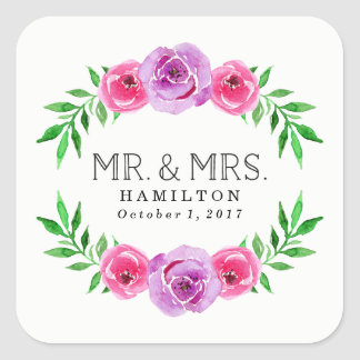 In Bloom | Mr. and Mrs. Wedding Square Sticker