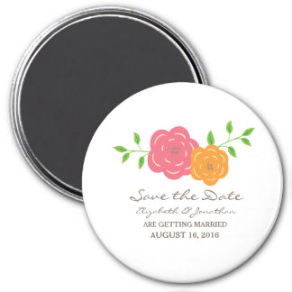 In Bloom Red Orange Floral Save the Date Magnet